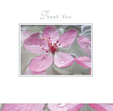 "THANK YOU CARD ""PINK FLOWER DESIGN"" SQUARE SIZE 4.75 X 4.75 INCH By Lings ETH107"